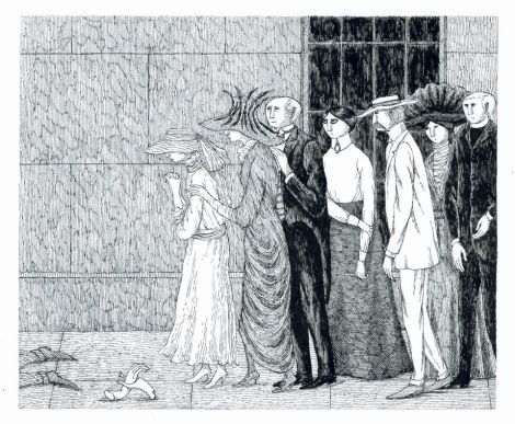 Edward Gorey: After it had passed, Lord Wherewithal was found crushed beneath a statue blown down from the parapet. from 'The Secrets: Volume One, The Other Statue,' 1968.