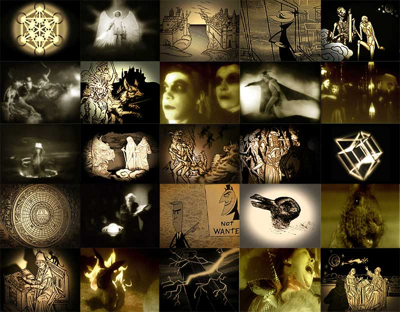 A collage of sepia toned images showing wizards, devils, angels, and occult diagrams.