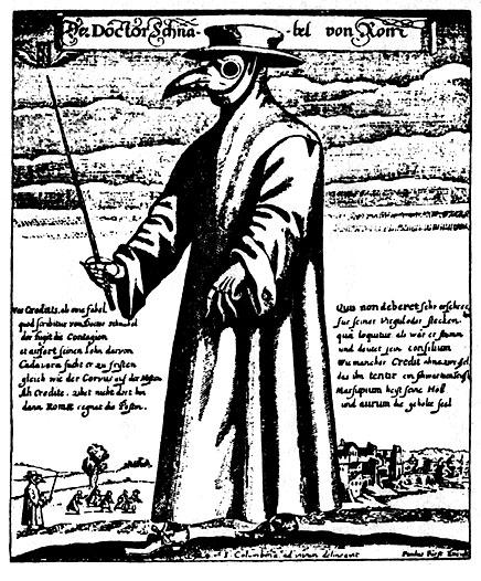 A woodcut of a man in long robes, wearing a plague mask with a long beak.