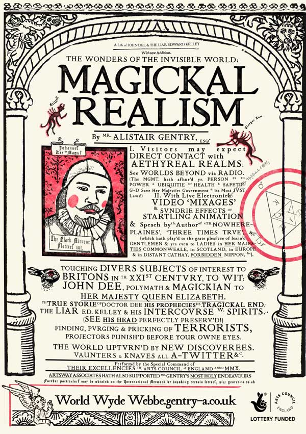Promotional flyer for Magickal Realism, Elizabethan style, describing the show and decorated with devils, angels, and rabbits.