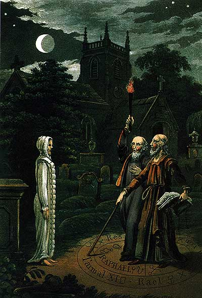 A colour lithograph of two middle aged men in a graveyard at night, under a crescent moon, talking with a person they have brought back to life from a grave. The dead man is wearing his white burial clothes.