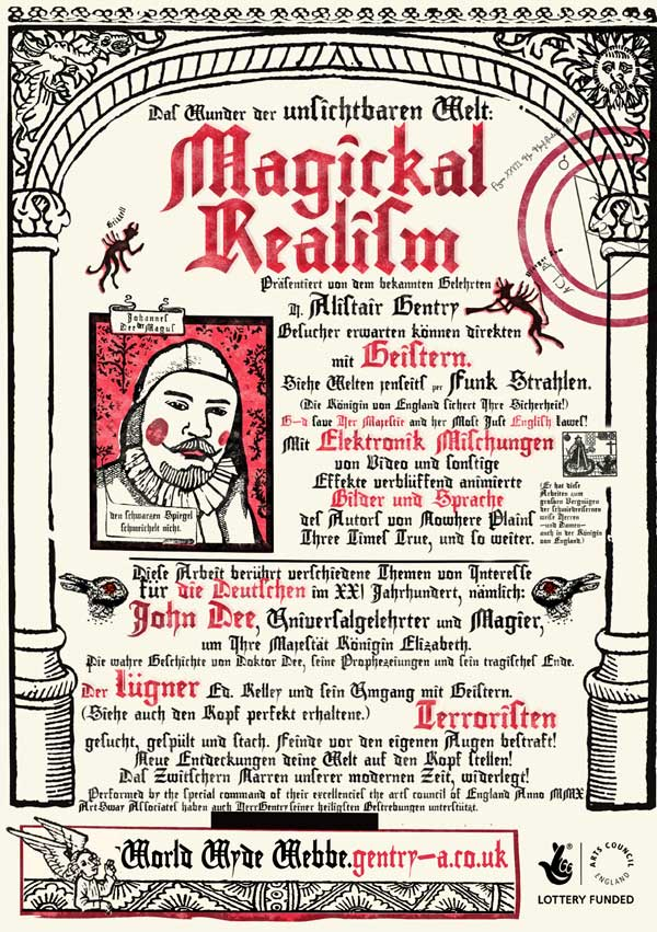 A German version of the Elizabethan style flyer for Magical Realism, describing the show in German.