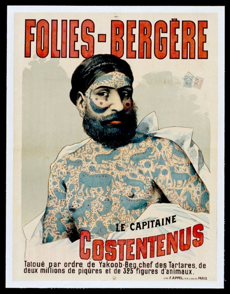 Poster for a sideshow type act at the Folies-Bergére, circa 1880s-1890s.