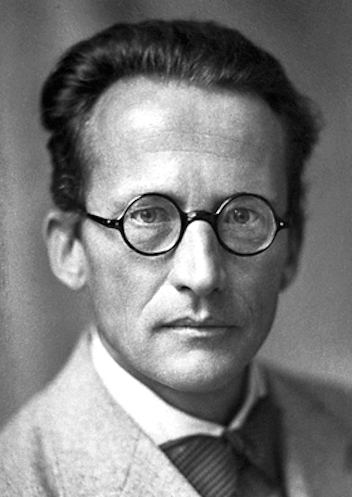A black and white photo of the physicist Erwin Schrödinger. He is a middle aged white man with dark, swept back hair, round glasses, and wearing a white collared shirt, a dark bow tie and pale suit jacket.