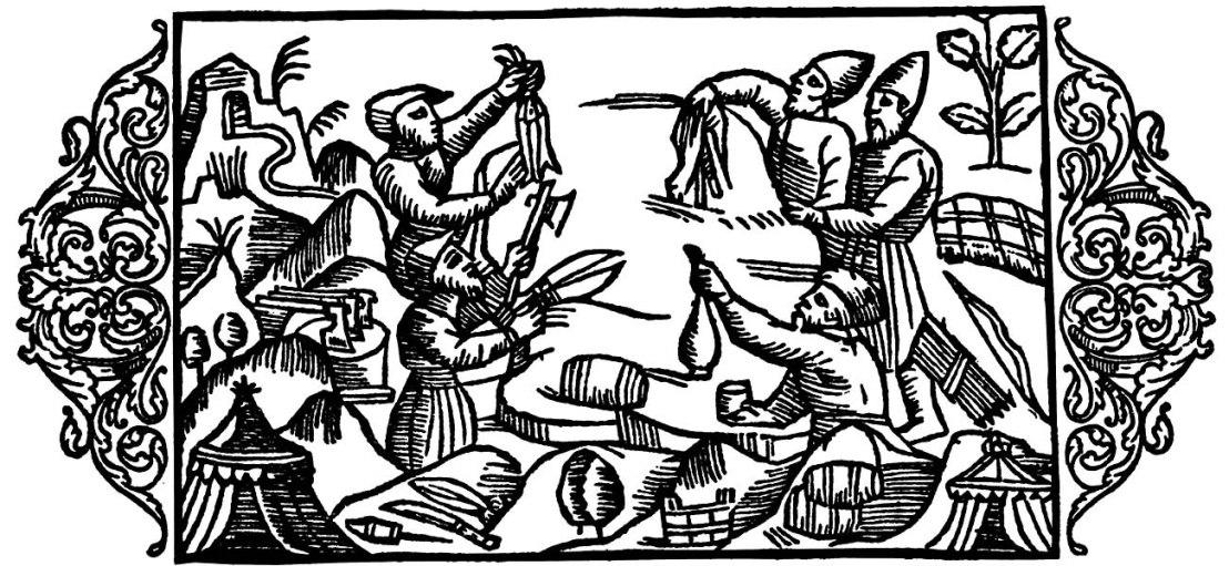 Olaus Magnus Historia om de nordiska folken. Bok 4 - Kapitel 5 - Om varubyte utan penningar. - Utgivningsår 1555.