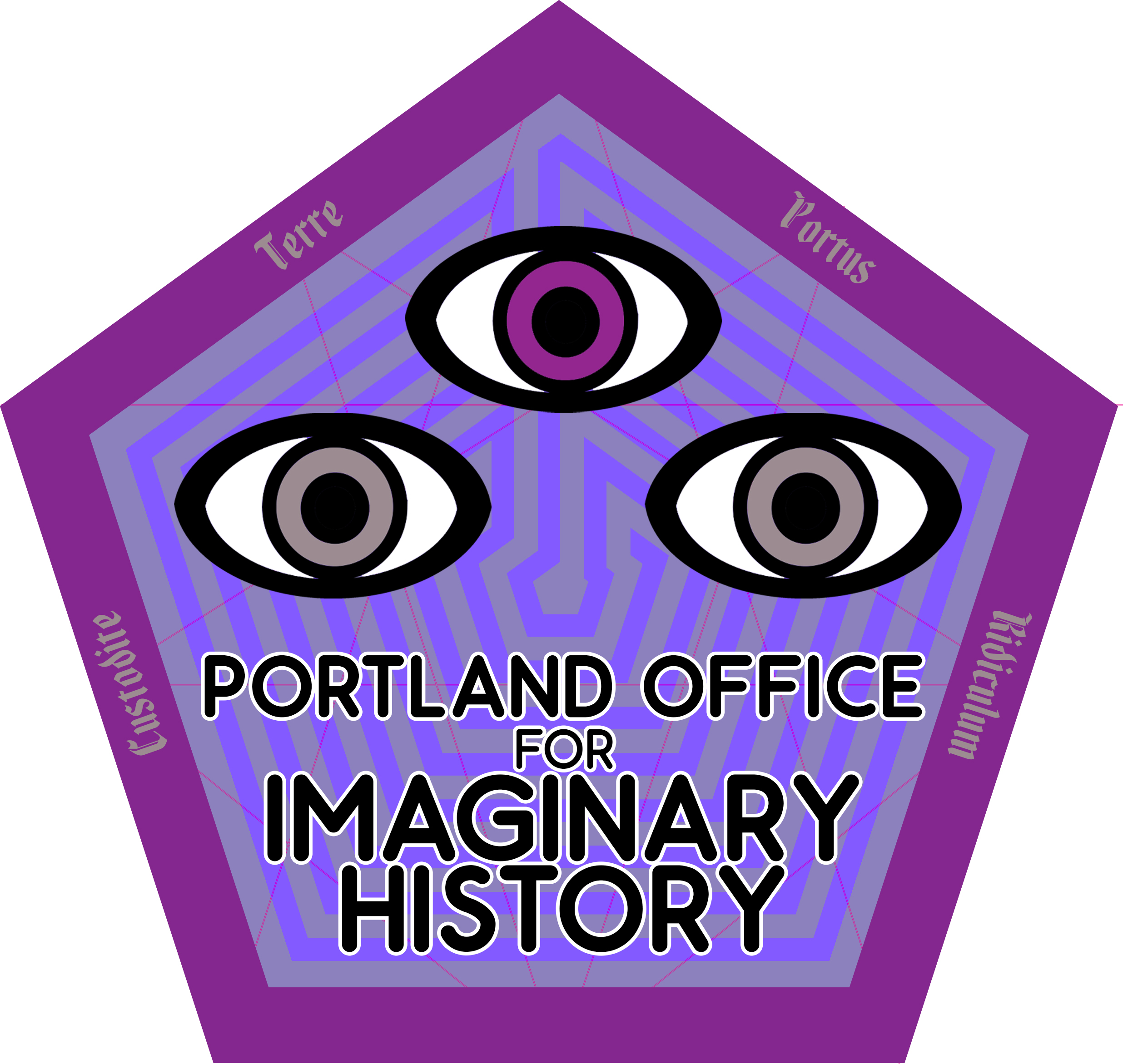 "Portland Office for Imaginary History logo- it is hexagonal, in shades of purple, with two ""normal"" eyes and a third purple eye placed between and above them. In the borders it says in Latin ""Custode Terre Portus Ridiculum""."