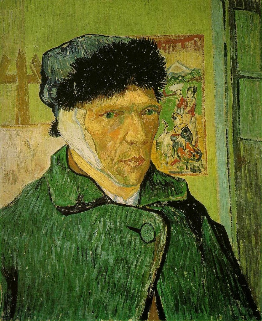 A self-portrait by the painter Vincent Van Gogh, showing himself with a bandaged ear. He is also wearing a hat with a fir trim and a heavy dark green coat, buttoned up at the top. Behind him there is a yellow wall with a Japanese print on it.