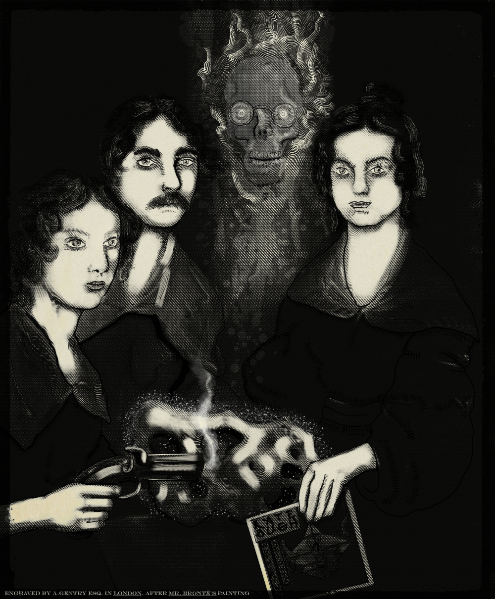 A drawing of the Brontë siblings Emily, Charlotte, Branwell and Anne but Emily is holding a smoking pistol, Charlotte has a moustache, Branwell is almost completely transparent, and Anne is holding a record sleeve of Wuthering Heights by Kate Bush. There is a glowing meteorite on the table in front of them.