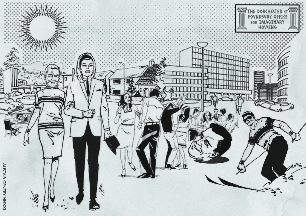 Artist's impression of the proposed Dorchester and Poundbury housing scheme, showing happy people, various buildings, drunken partying, a giant head and on-road skiing.