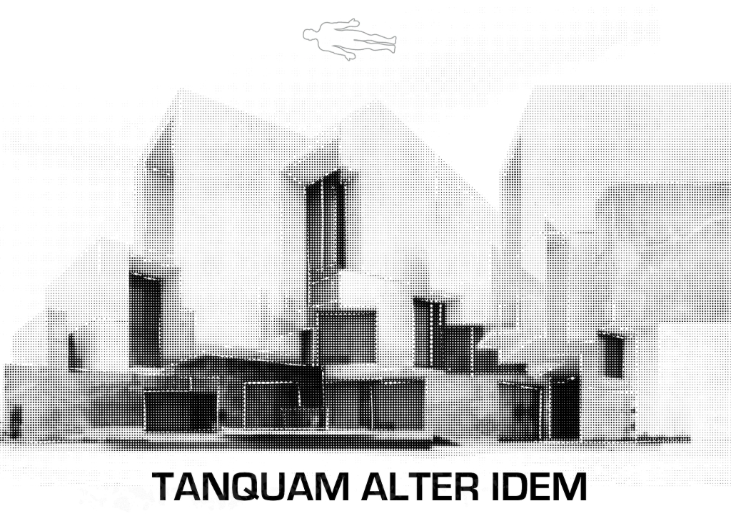 A monochrome image of a ghostly and confusing house, with the outline of an astral traveller's body floating above it. At the bottom of the image is a Latin phrase: TANQUEM ALTER IDEM.