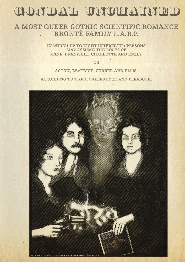 From the frontispiece of an imaginary adventure novel: A drawing of the Brontë siblings Emily, Charlotte, Branwell and Anne but Emily is holding a smoking pistol, Charlotte has a moustache, Branwell is almost completely transparent so his skull is visible through his skin, and Anne is holding a record sleeve of Wuthering Heights by Kate Bush. There is a glowing meteorite on the table in front of them.